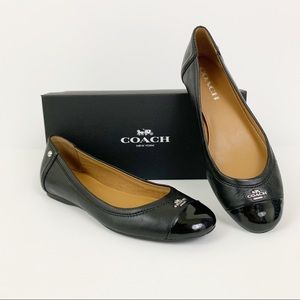 Coach Chelsea 7 Black Leather Ballet Flats